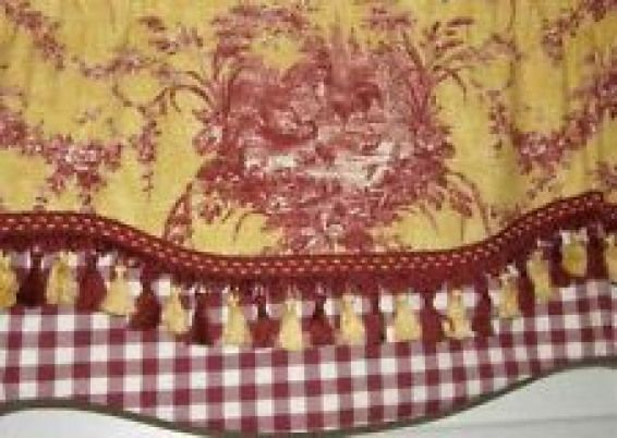 Custom Window Valance Curtain Rooster Waverly Toile Red Gold Check Tassel Trim French Country Fabric Curtains Living Room Toile Curtains