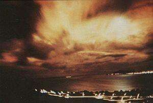1962 Starfish Prime nuclear exploson in space  launched from Johnson Island in the Pacific ocean.