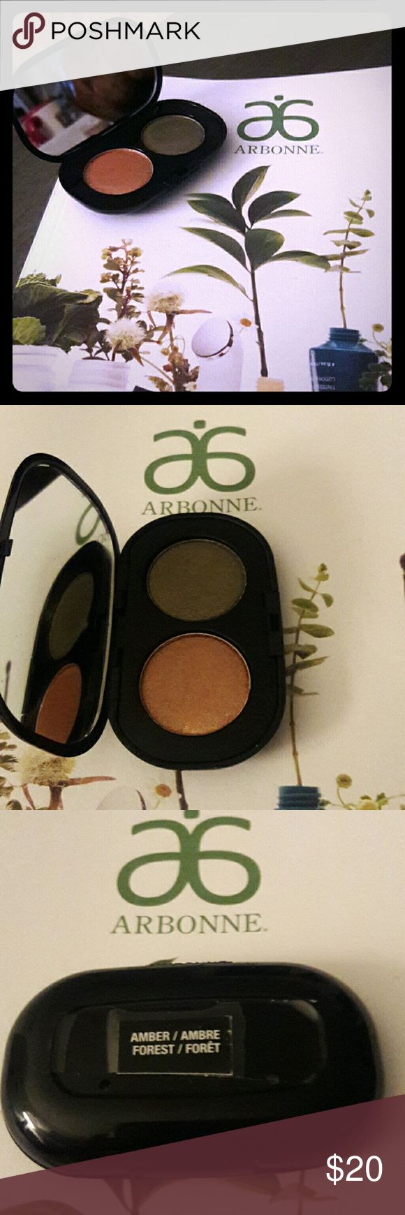 """NEW Arbonne """"It's all in the Eyes"""" Eye Shadow Duo New Arbonne eye shadow, colors Amber/Forest #6720.  Refillable and interchangeable. Net weight 0.14 oz. Retails at $40. Arbonne Other"""