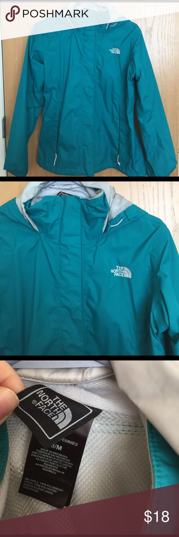 North Face Jacket A great lightweight windbreaker and rain jacket. Its a beautiful blue/green color, shows no signs of wear! The North Face Jackets & Coats