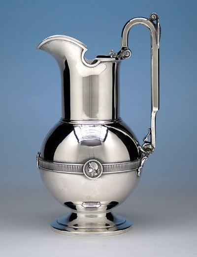 Gorham 'Medallion' Coin Silver Water Pitcher, 1861-67   (spencermarks)
