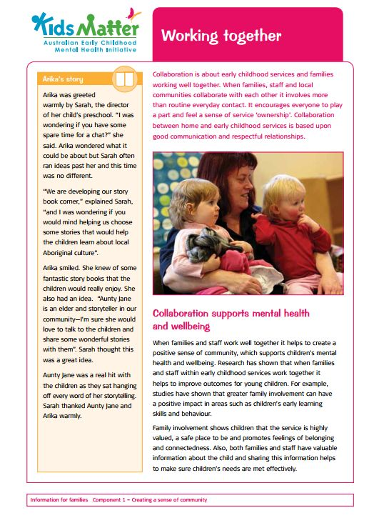 Top tips: Working together. Collaboration is about early childhood services and families working well together. Information sheets for families and ECEC staff.