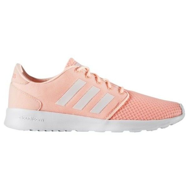 Adidas  Women's Qt Cloudfoam Racer Shoes ($60) ❤ liked on Polyvore featuring shoes, athletic shoes, light peach, striped shoes, breathable shoes, adidas shoes, breathable mesh shoes and cushioned shoes