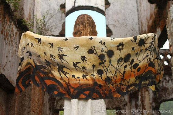 Silk Cotton Swallows Scarf, Wrap, Hand painted printed swallows and florals, stunning unique and useful, perfect gift