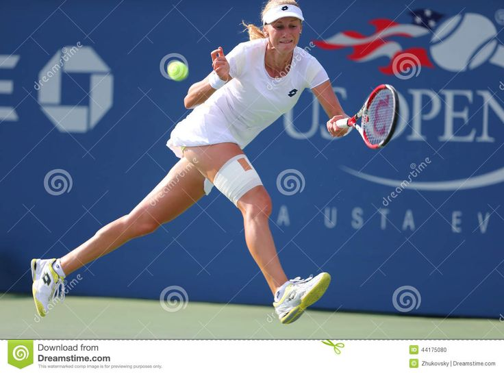 NEW YORK- SEPTEMBER 1: Professional tennis player Ekaterina Makarova during fourth round match at US Open 2014 against Eugenie Bouchard on September 1, 2014 in New York