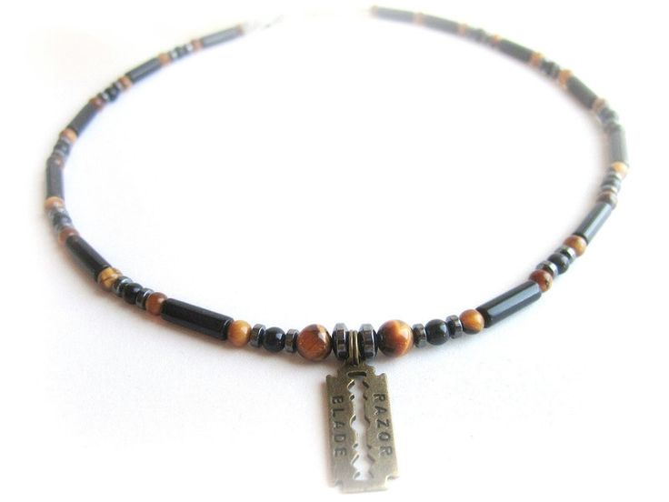 Collana+uomo+lametta+e+pietre+dure+di+BRAVE+men's+jewelry+su+DaWanda.com