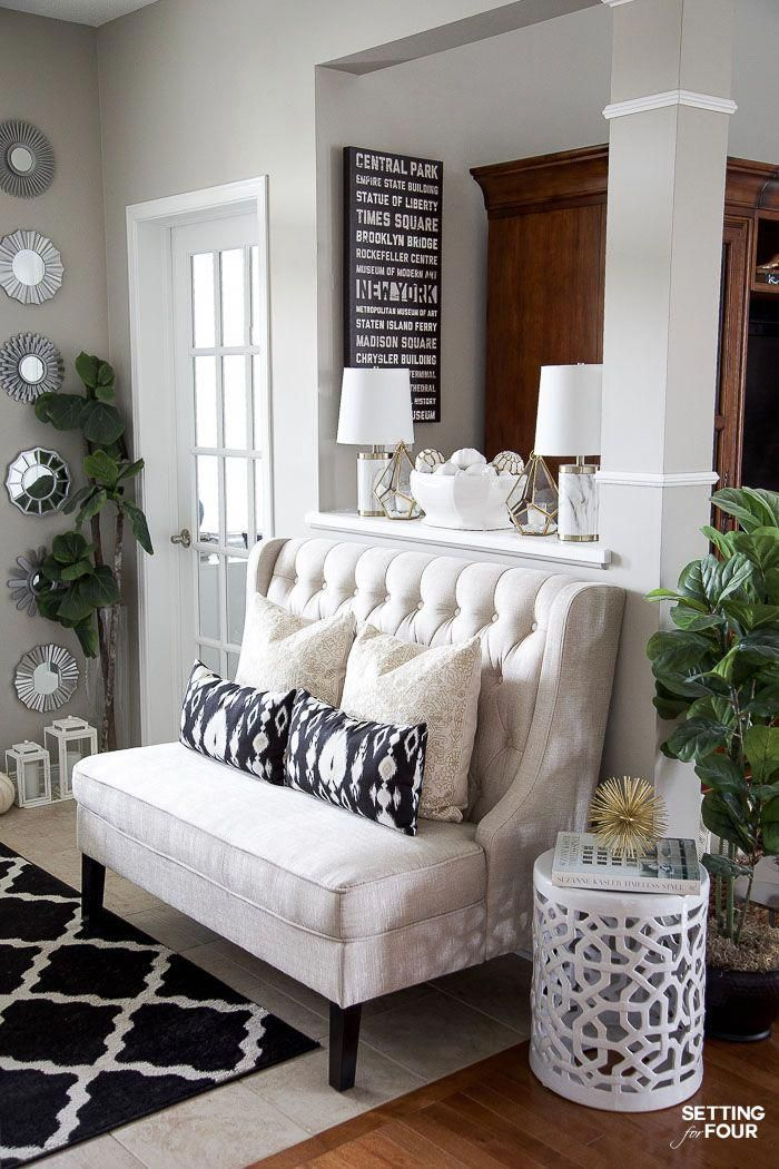 Neutral Glam Fall Entryway Family Room Decor Ideas Neutral