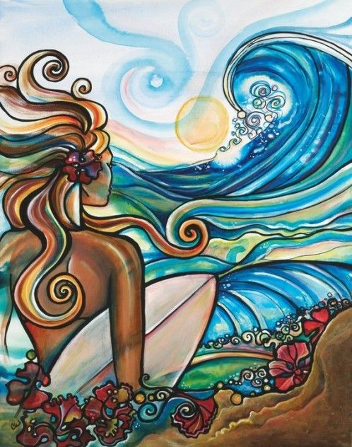 A beautiful artwork of a girl in hawaii.   One of my girls would love this. So colorful!