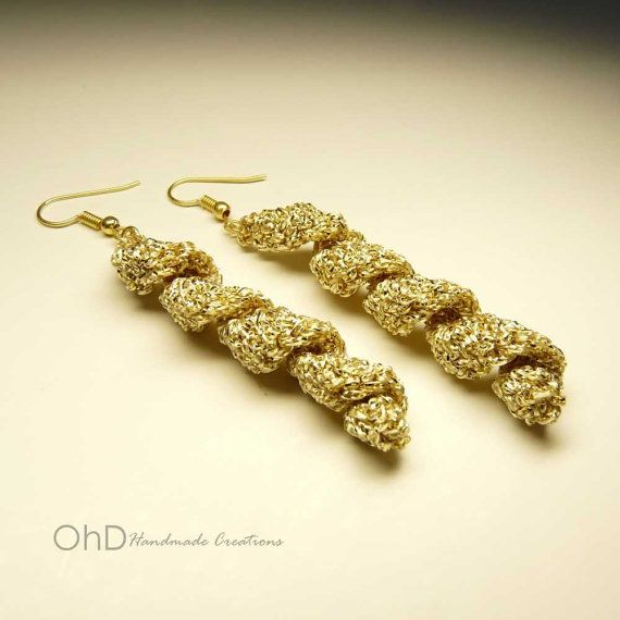 Long spiral earrings  Gold glamorous by OhDarlingCreations76 #earrings #longearrings