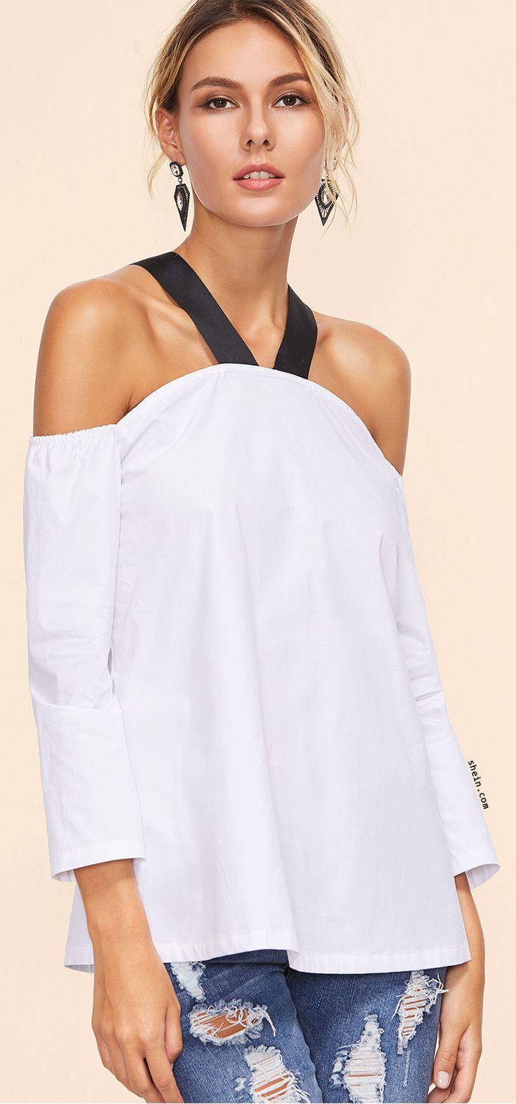 White Contrast Strap Cold Shoulder Top