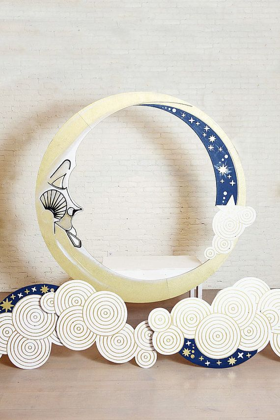 Art Deco Paper Moon and Clouds with Bench by DAPPSY on Etsy