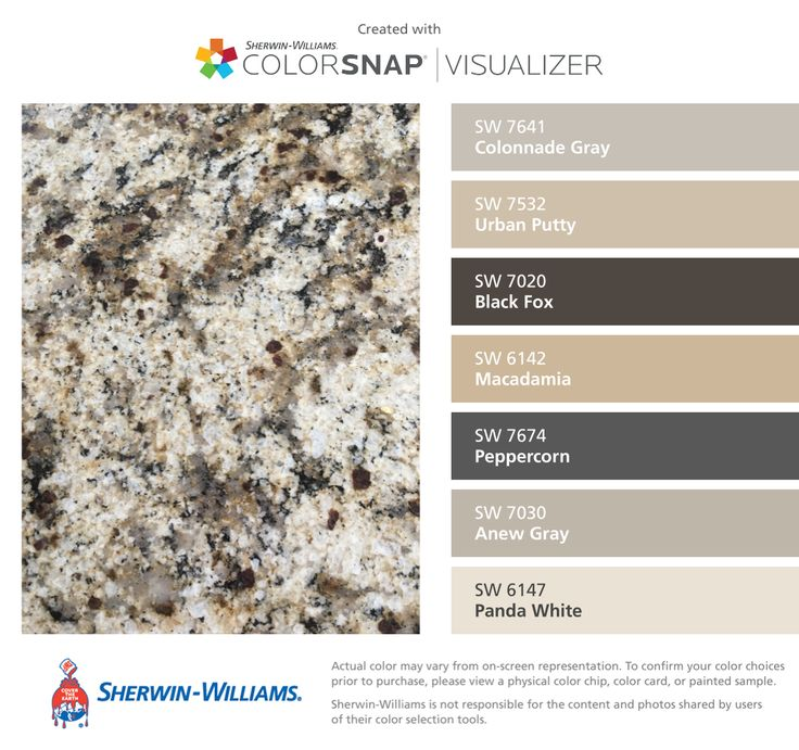 I found these colors with ColorSnap® Visualizer for iPhone by Sherwin-Williams: Colonnade Gray (SW 7641), Urban Putty (SW 7532), Black Fox (SW 7020), Macadamia (SW 6142), Peppercorn (SW 7674), Anew Gray (SW 7030), Panda White (SW 6147).