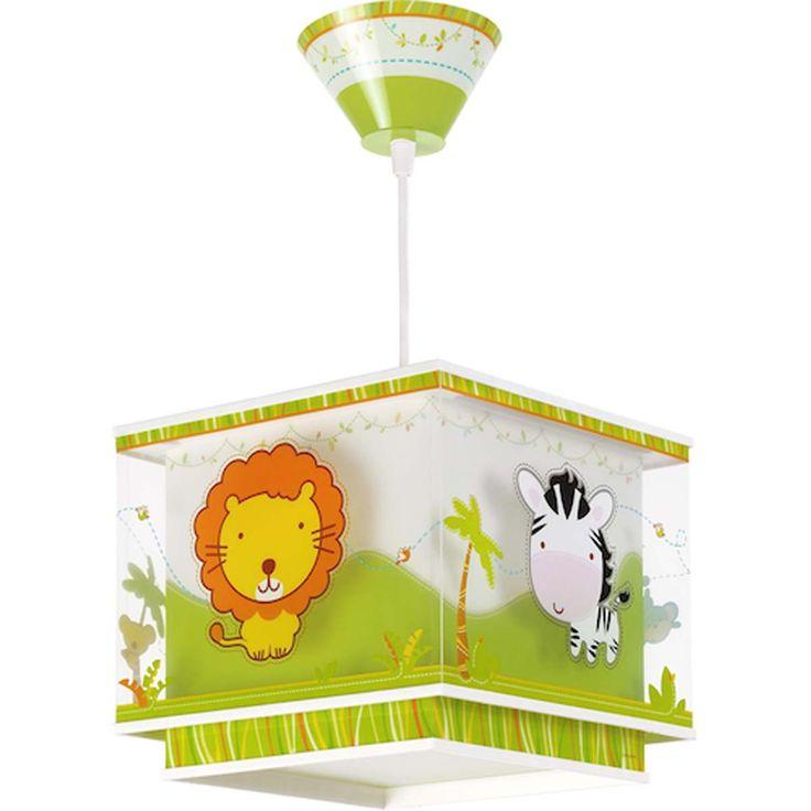 lampara infantil de animales del zoo Colgante de Techo doble pantalla de polipropileno transparente y difusor de luz inferior. Es ideal para la habitación de tus hijos. La pantalla es giratoria. Requiere de una bombilla LED E27