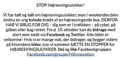 Stop Højresvingsulykker! Vær med til Idea-Shout d 10 oktober kl 10.
