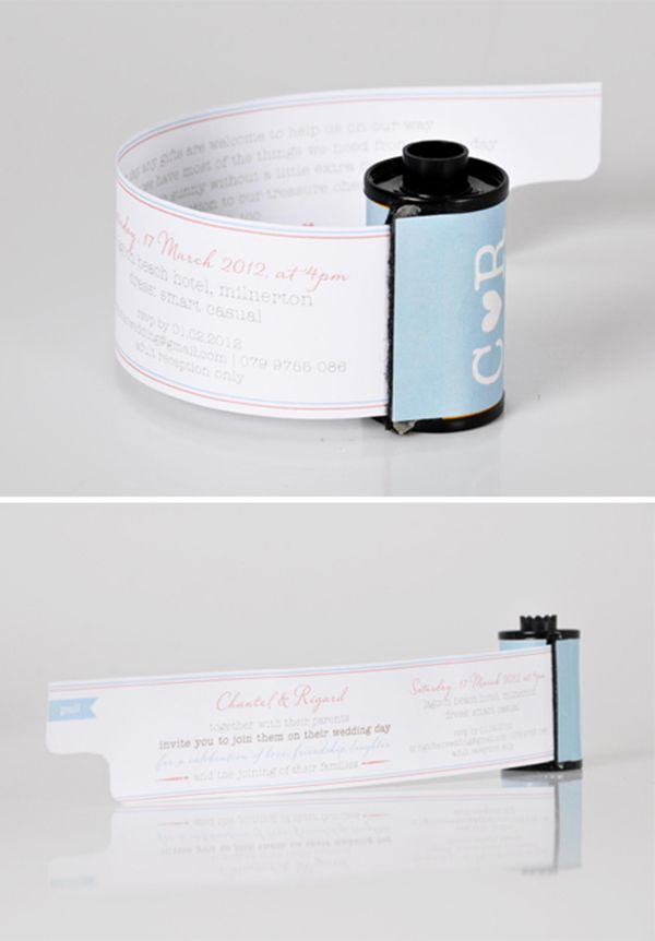 Unique Wedding Invitations - Film Roll Invites Could also be used for a photo outing party invitation.