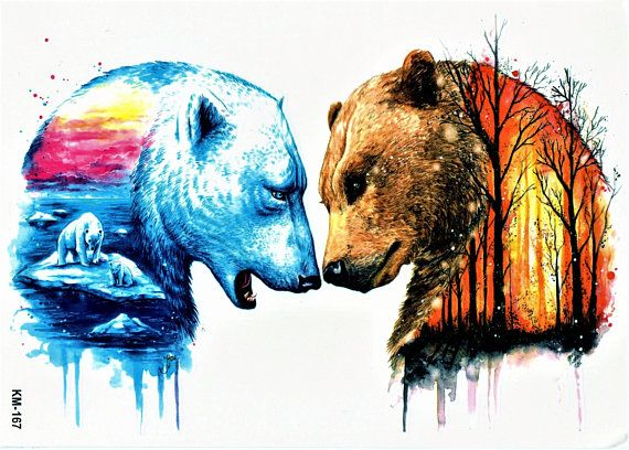 Bear Icebear Grizzly Watercolor Wild Animal Hunt Colorful