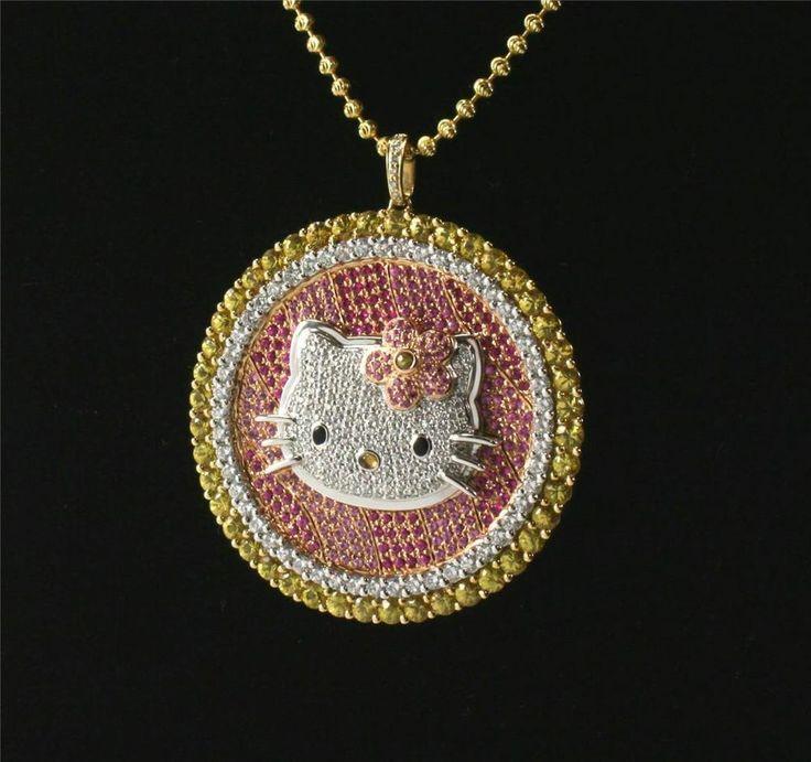 366 best kitty kollection images on pinterest hello kitty stuff estate kimora lee simmons hello kitty 18k gold diamond sapphire necklace pendant mozeypictures Gallery