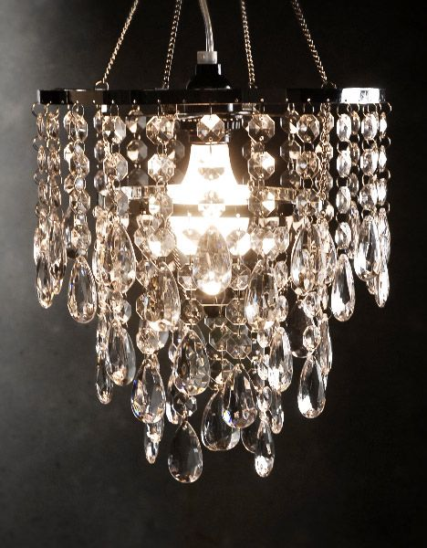 "Crystal Chandelier Lighting 3 Tier Plug In $52 (12"" long)    I need this for our new house!!"
