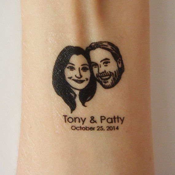 Temporary tattoos / custom couple portrait / for wedding favor invitations save the date couple face etc