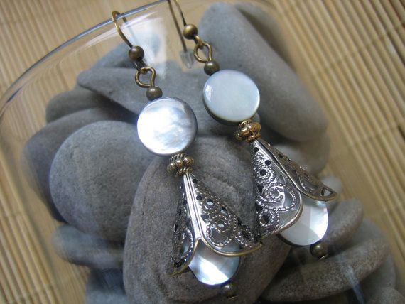 Handmade One-of-a-kind Rustic Victorian Steampunk Mother-of-Pearl and Brass Dangle Earrings -$25.00