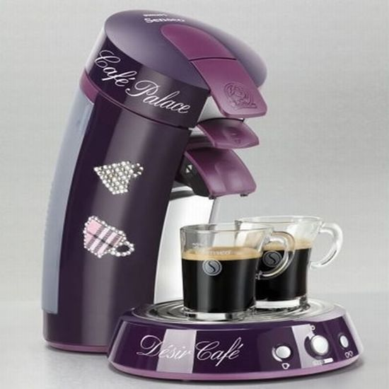 Oooooh! and it's PURPLE!!!! Limited Edition Swarovski studded Senseo coffee machine