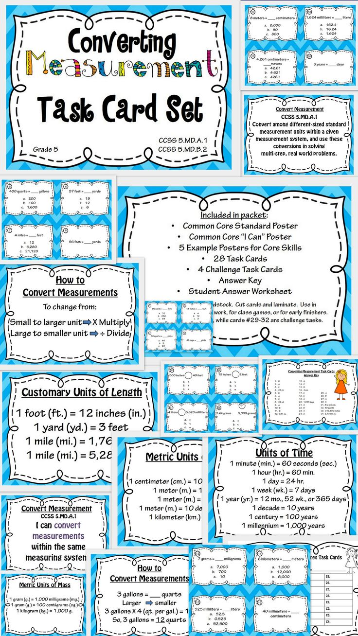 Converting Measurement Task Cards and Poster Set: Great way to teach and reinforce measurement conversion!  Includes Common Core posters, example posters, Metric and Customary measurement charts, 32 task cards, answer key, and student answer sheet.  Perfect for centers, independent work, or test prep!