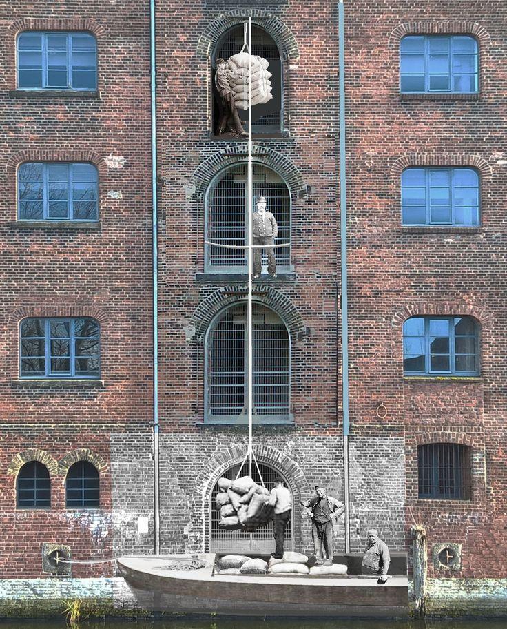 Installation with historic pictures in the harbour of Hamburg. www.baukunststudio.de