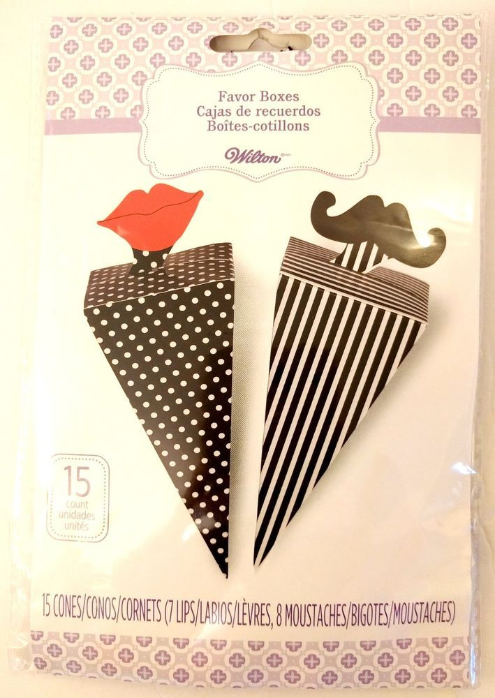 Wilton 15pc Moustache Mustache Red Lips Wedding Favors Reception Gift Boxes Cone #Wilton