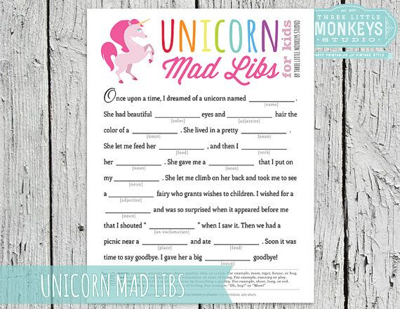 Instant Download Magical Rainbow Unicorn Mad Libs Game