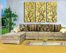 Yeni Sarı Modern Orijinal Çin Ağacı Kuş Yağlıboya Dijital Sanat 3 Paneli Seti Ev Oturma Odası Için Duvar Resimleri(China (Mainland))