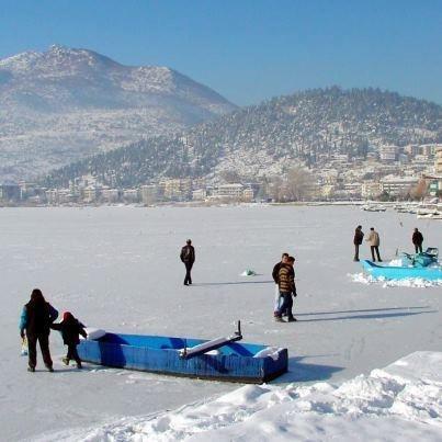 Kastoria. Frozen Lake Oresteias.