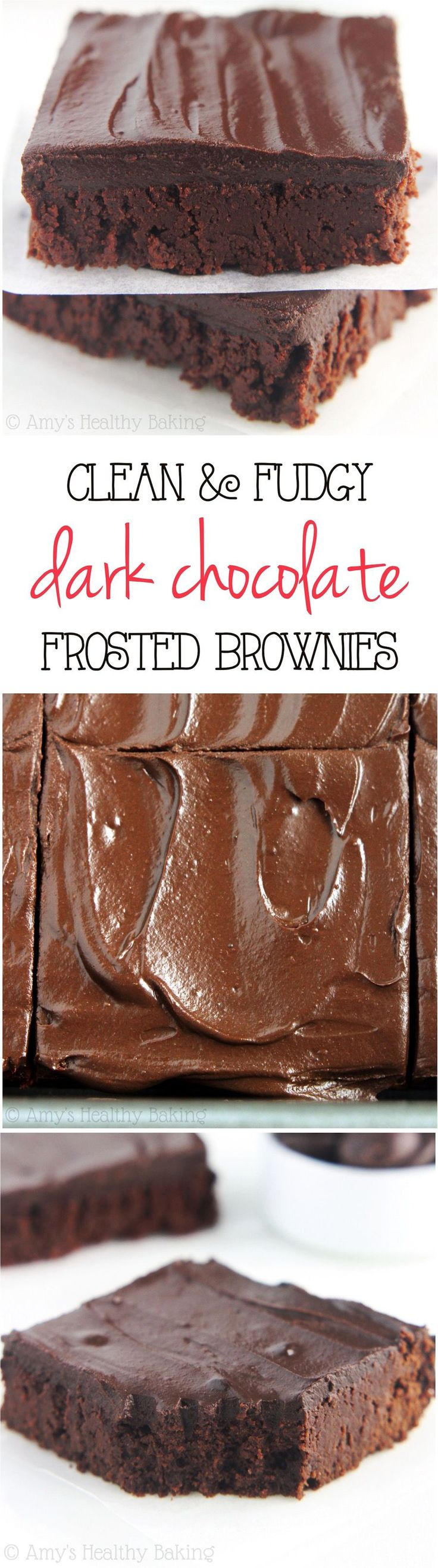 Clean-Eating Fudgy Dark Chocolate Frosted Brownies -- these skinny brownies don't taste healthy at all! They're insanely rich, as easy as a box mix & only 100 calories!