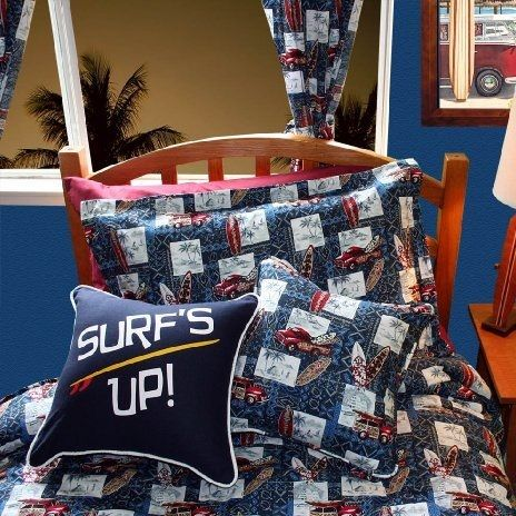 Surf Bedding Sets List! Discover the best surf comforters, quilts, duvet covers, surf sheets, and more for your home. You can find the best surfboard bedding and surf bedding ideas for a beach home.
