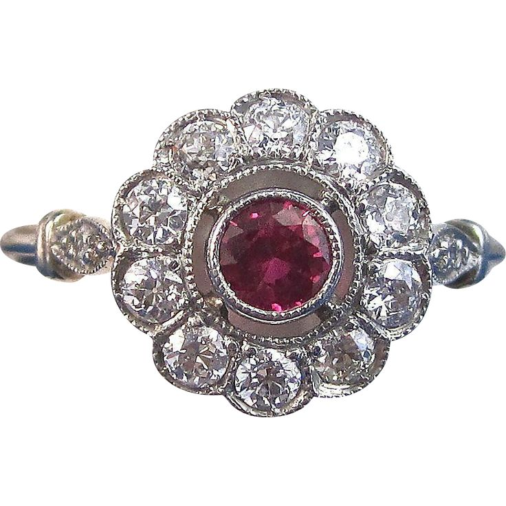 Romantic Ruby Diamond Art Deco Halo Engagement Ring Platinum
