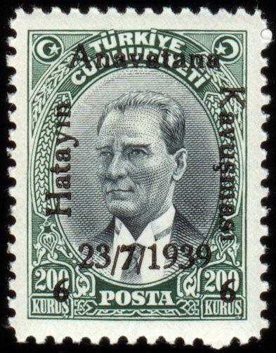 Türk Pulları- Hatay'ın Anavatana Kavuşması (1939) - Atatürk pulu üzerine sürşarj edilmiş.