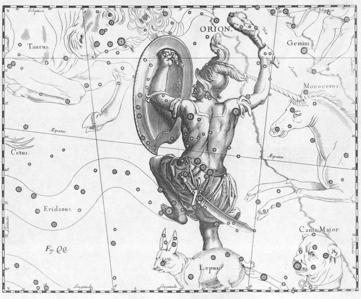 Orion was a giant huntsman in Greek mythology whom Zeus placed among the stars as the constellation of Orion.  In Greek literature he first appears as a great hunter in Homer's epic the Odyssey, where Odysseus sees his shade in the underworld.