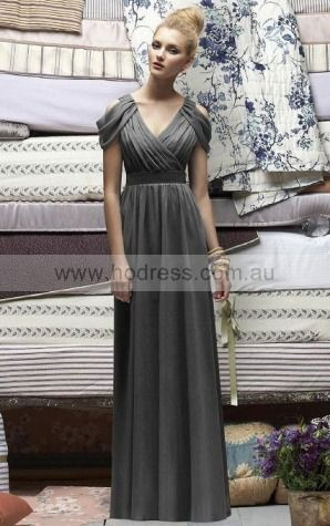 Chiffon V-neck Natural A-line Floor-length Bridesmaid Dresses 0740349--Hodress