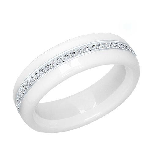 Кольцо из серебра с керамическими вставками и фианитами