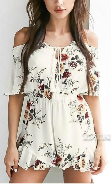 Super cute Floral Off The Shoulder Jumpsuit by Koogal Fashion - Perfect for spring!
