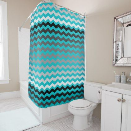 turquoise and black shower curtain. Seamless Gradient Chevron Pattern on Turquoise Shower Curtain  black and white gifts unique special b w Best 25 shower curtains ideas Pinterest Mermaid