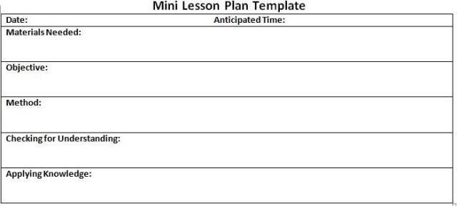 10 Lesson Plan Templates Free Download Mini Lesson Plans