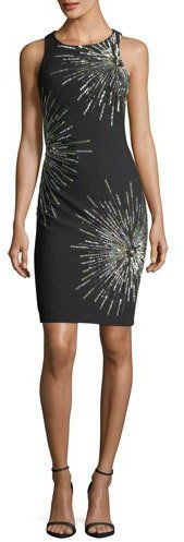 Aidan Mattox Starburst Round-Neck Sleeveless Sheath Cocktail Dress