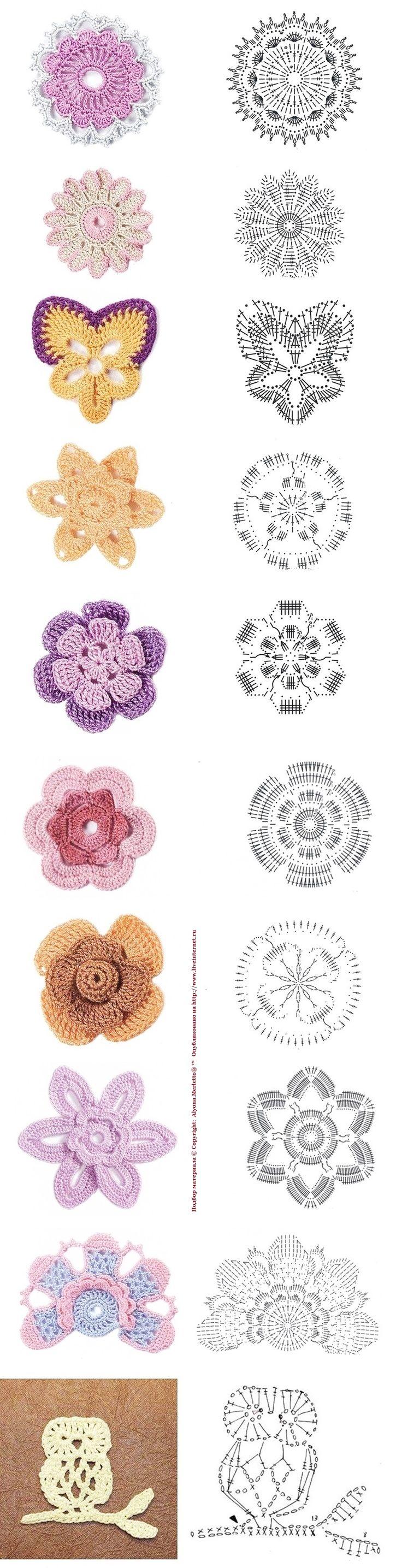 Мотивы и цветочные мотивы крючком для рукоделия ...