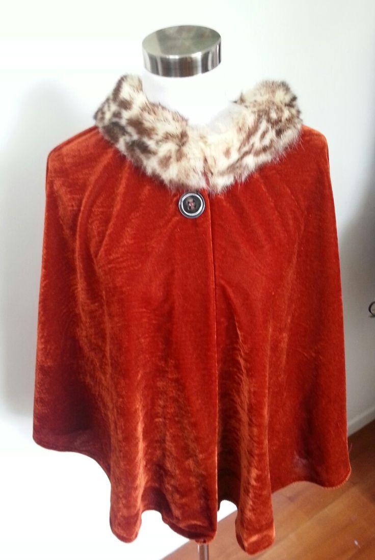 Velvet cape with fur collar. By Gaylene Allam
