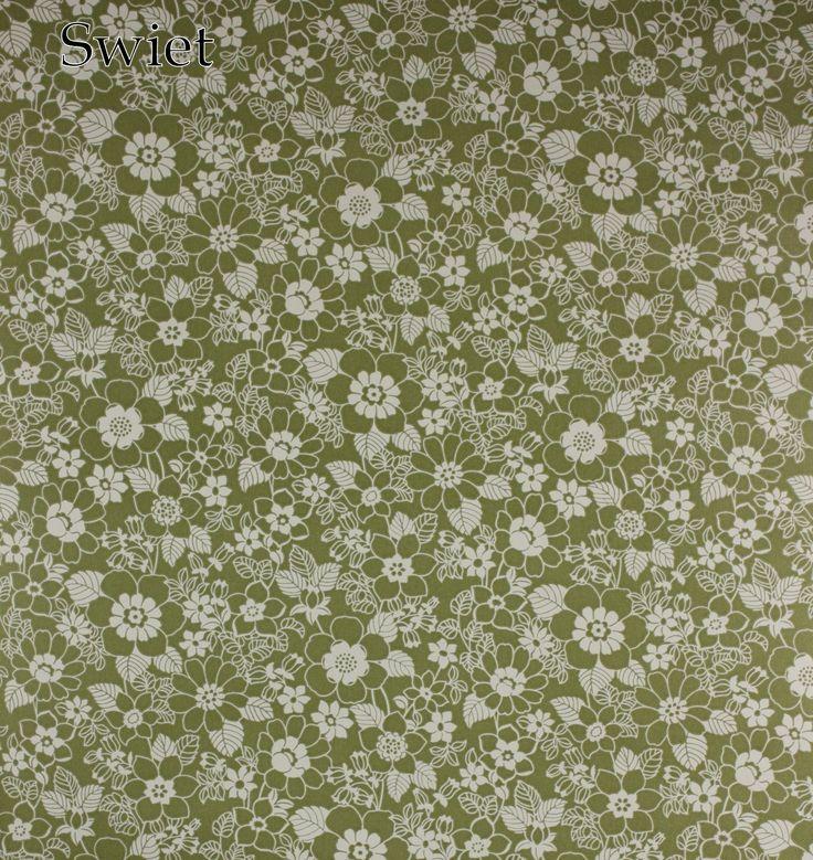 Groen wit bloemenbehang