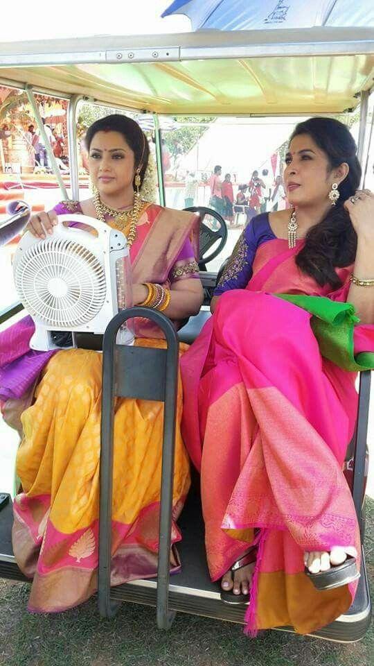 Meena and RamyaKrishna in Kanchipuram silk sarees http://www.hotel-booking-in.com