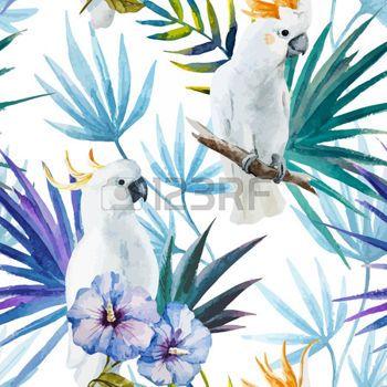 dessin fleur tropicale: Beau motif aquarelle vecteur tropique avec le perroquet blanc