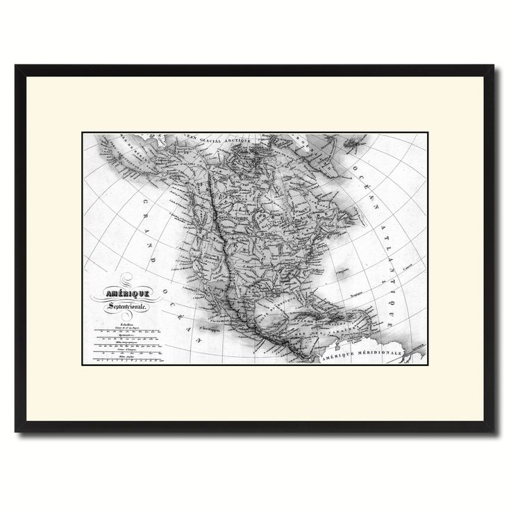 North America Canada Mexico Vintage B&W Map Canvas Print, Picture Frame Home Decor Wall Art Gift Ideas