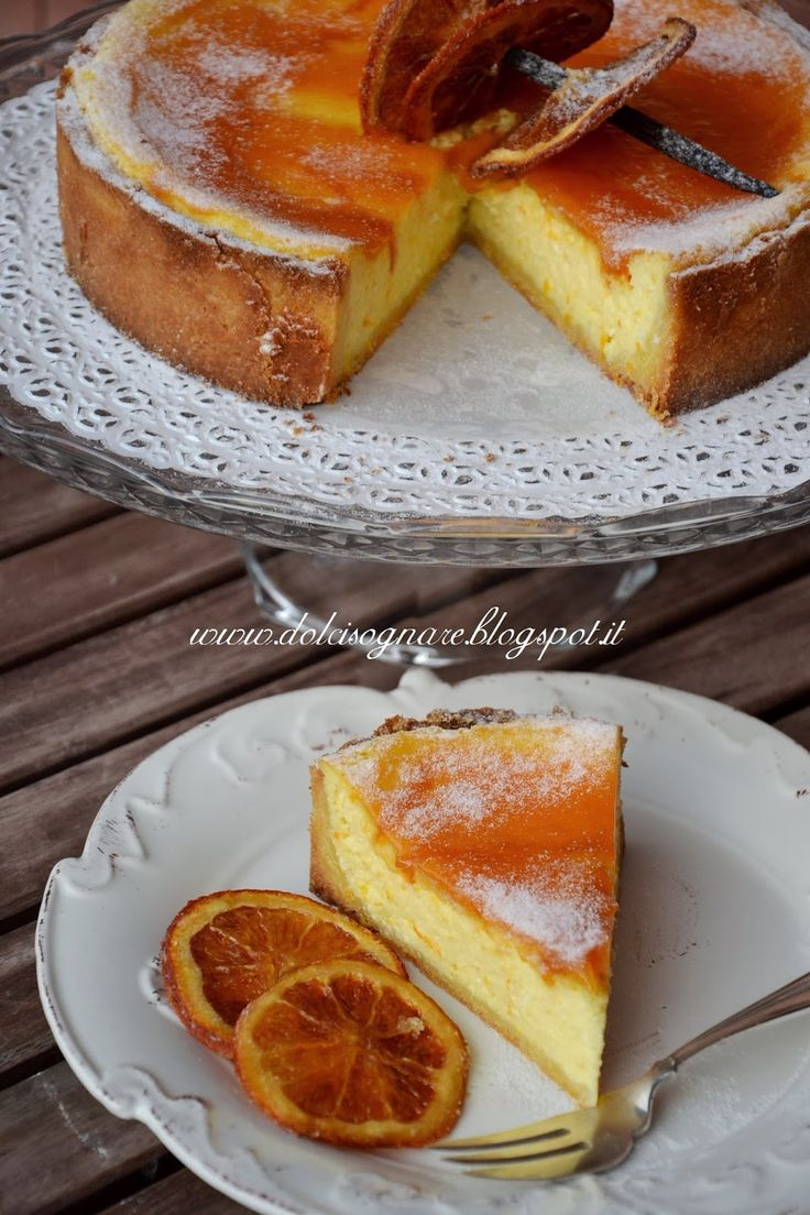 DOLCISOGNARE: Custard tart with ricotta cheese and orange