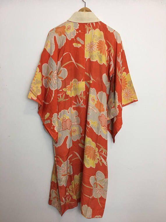 Vintage Japanese kimono long kimono Japanese kimono dress